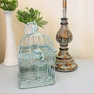 NWOT Mint Green Metal Decorative Bird Cage